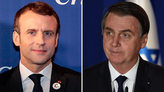 ז'איר בולסונרו נשיא ברזיל ונשיא צרפת עמנואל מקרון (צילום: יואב דודקביץ', AFP)