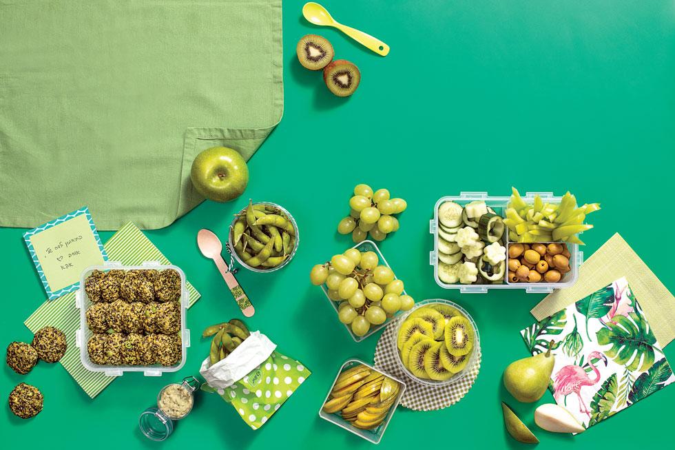 ארוחת עשר בגוונים של ירוק (צילום: אסף אמברם, סגנון: טליה הדר)