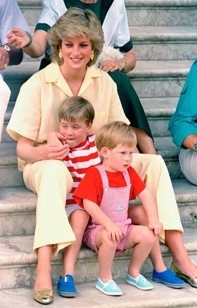 רצתה חיים נורמלים עבור הילדים. הנסיכה דיאנה, וויליאם והארי (צילום: AP)