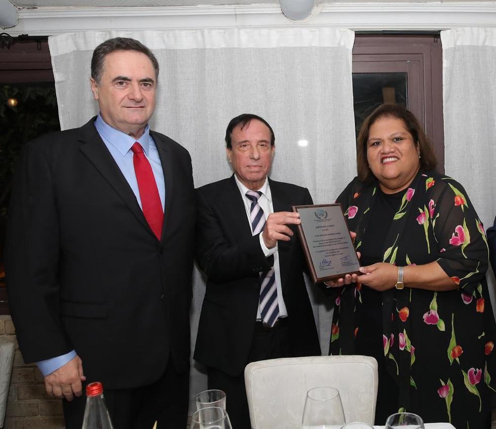 Yisrael Katz, David Ben Basat and Ambassador Marlene Inemwin Moses