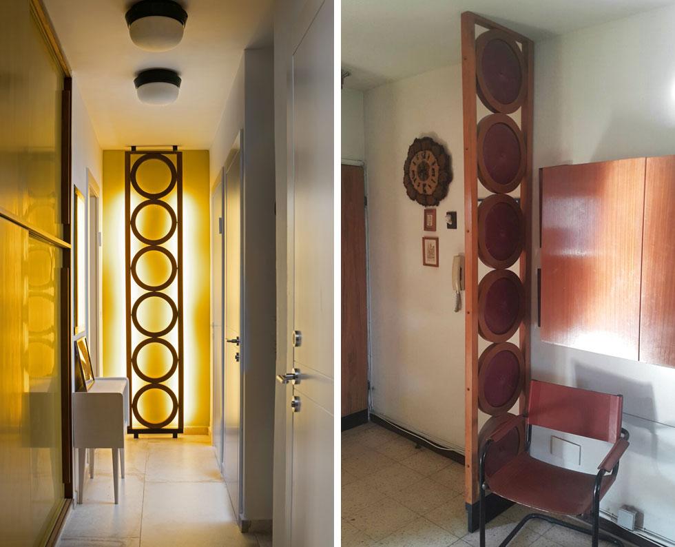מחיצה שהיתה במקור בכניסה לבית (בתמונה מימין) הוסבה לגוף תאורה אנכי, שמאיר בסופו של המסדרון המוביל לחדרי השינה (צילומים: סורנה כפיר, שירן כרמל)