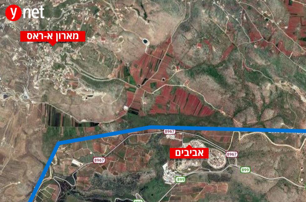 מפה ירי  הר דב ירי נט גבול לבנון צפון אביבים ()