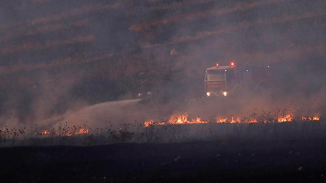 Fire in the area of Avivim following a Hezbollah attack  (Photo: EPA)