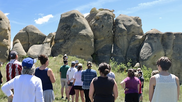 A visit to Sacred Rocks, Cheyenne as part of the Holocaust seminar (Photo: Harry D. Wall)