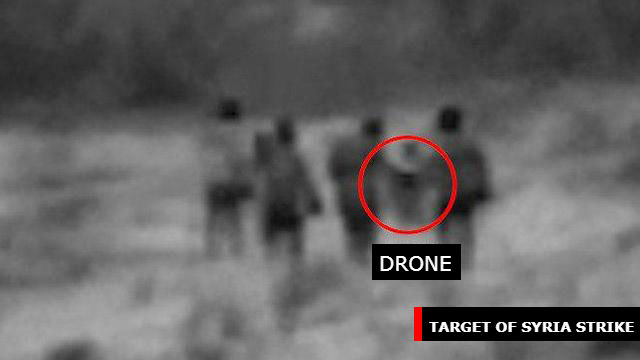 The drone targeted in an IDF strike in Syria