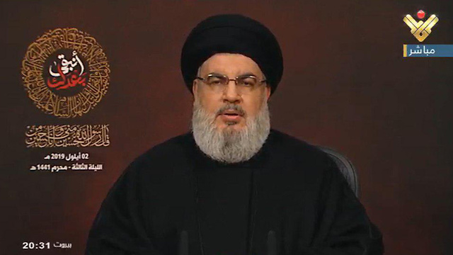 Hassan Nasrallah speaking in televised address Monday