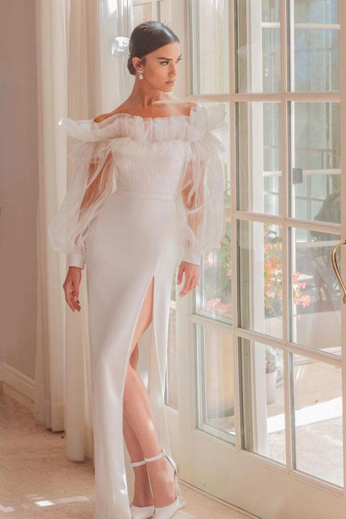 שמלת הכלה בעיצוב אלון ליבנה. שיר אלמליח (צילום: עידן חסון)