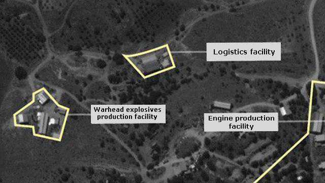 Satellite images presented by IDF showing Hezbollah factory