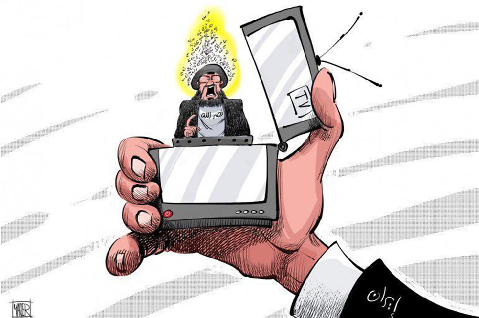 Cartoon in the Lebanon media depicting Hezbollah leader Hassan Nasrallah and his televised speeches as a lighter that will ignite the region