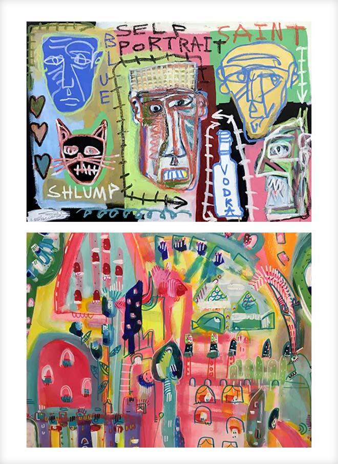 עבודות של אורן מרקוביץ' (למעלה) וענבל רייך