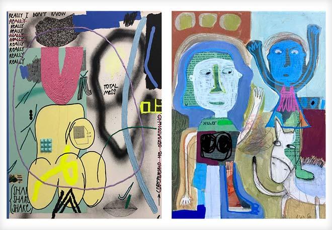 עבודות של יעל הניג (מימין) וקייט פריצלס. בחירה באמנים צעירים ומבטיחים יכולה להשתלם בטווח הארוך