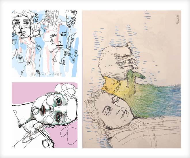 עבודות איור: אנה מירקין (מימין) ושחר אבנט
