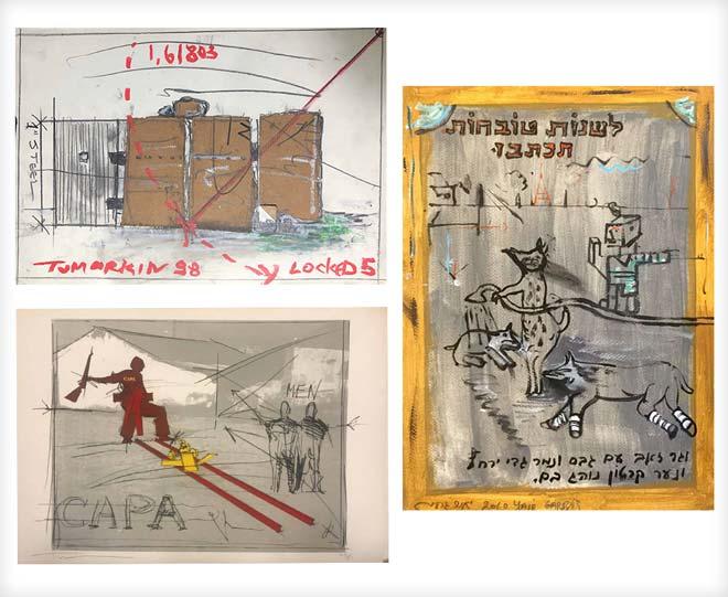 עבודות של יאיר גרבוז (מימין) ויגאל תומרקין. המחיר המקסימלי בגלריה ''פחות מאלף'': 1,000 דולרים