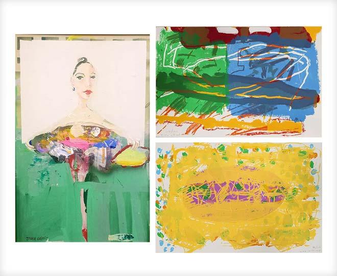 עבודות של לאה ניקל (מימין) ויהושע גריפית