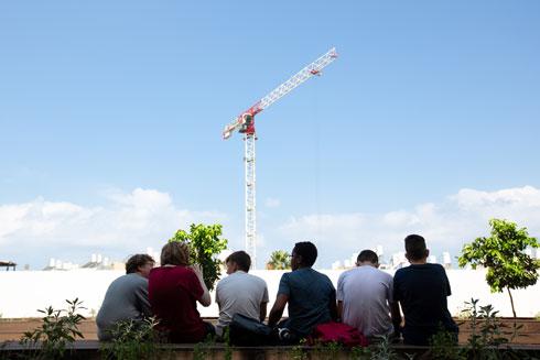 העגורנים פעילים בנוה עופר, שעוברת גל בנייה משמעותי (צילום: דור נבו)