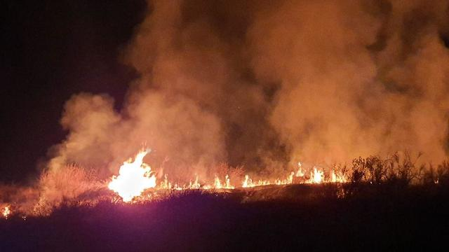 A brush fire in Sderot caused by a rocket from Gaza on Friday night