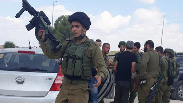 IDF troops near Azzun in the West Bank following the attack