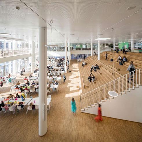 האולם המרכזי והטריבונות בבית הספר הבינלאומי בקופנהאגן (צילום: Adam Mørk)
