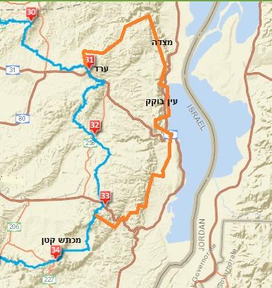 תוואי שביל ישראל החדש (בכתום) מול הישן (בכחול)