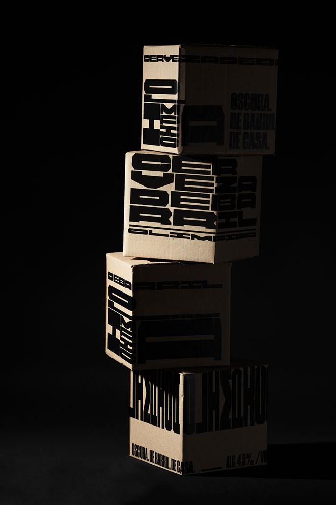 אלסטיות עיצובית: כל ארגז וכל פאה מקבלים שימוש שונה, בגופן שעוצב לבירה ''אולימפיקה'' (צילום: futura)