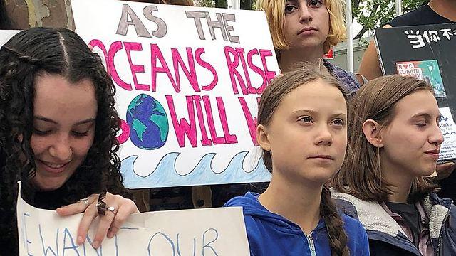גרטה טונברג בהפגנה בניו יורק (צילום: AP)