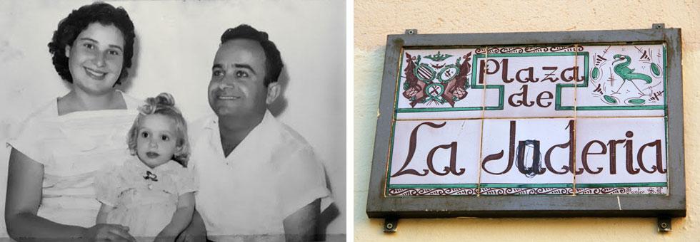 מימין: שלט המפנה לרובע היהודי בעיר טרואל שבספרד. משמאל: תמונת ילדות של זהבה חן-טוריאל עם הוריה, יעקב ויפה (צילום: אורי וזהבה חן)