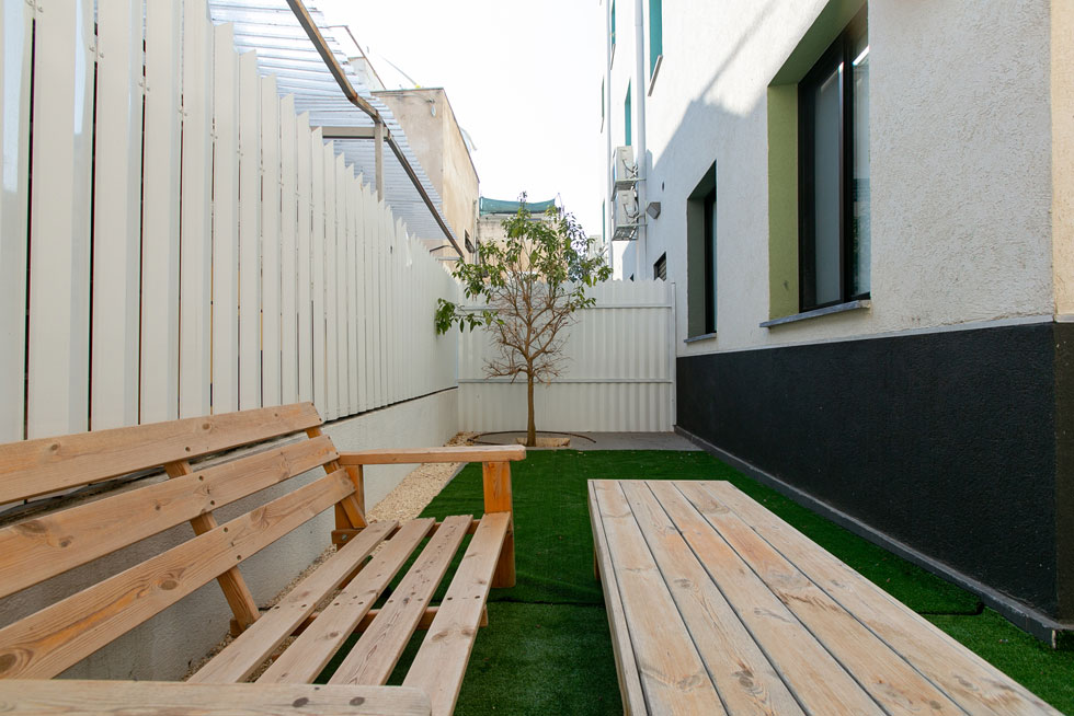בחצר של שון סופטי, ששוכר את הדירה בקומת הקרקע. במקור חשבו כאן על מכללה או ישיבה (צילום: דור נבו)