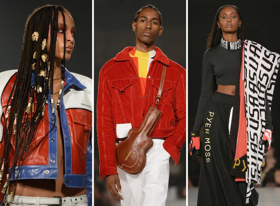 על התצוגה הטובה ביותר של שבוע האופנה חתום המעצב קרבי ז'אן-ריימונד מהמותג Pyer Moss, שאחריו אנו עוקבים בדריכות כבר מספר עונות. המעצב ממוצא האיטי-אמריקאי מגבש מחדש Black Power אופנתי עם דוגמניות ודוגמנים שחורים, ושפה עיצובית שניזונה מתרבות ההיפ-הופ ויצירת פרופורציות גוף חדשות (צילום: Fernanda Calfat/GettyimagesIL)