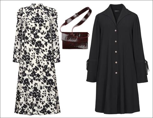 מעיל שחור, 980 שקל | שמלה פרחונית, 790 שקל | תיק, 790 שקל (צילום: עדי גלעד)