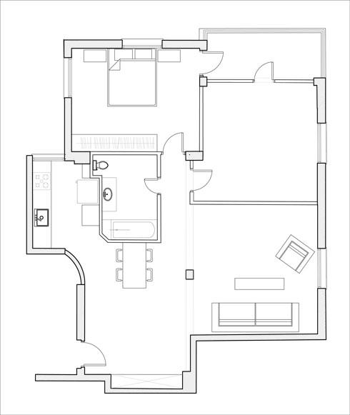 חלוקת הדירה המקורית, בתכנון דב כרמי (באדיבות ma-deux studio)