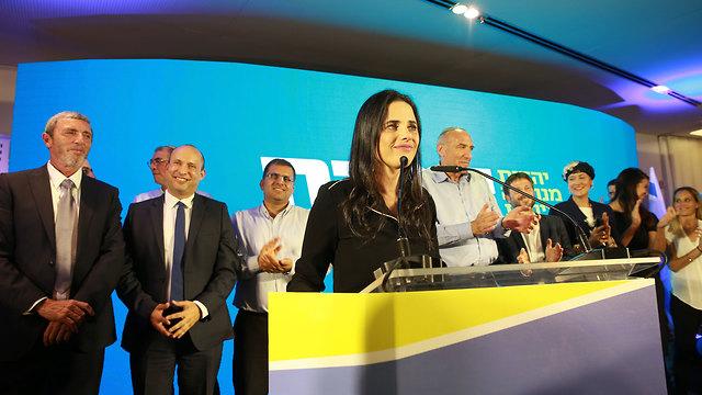Ayelet Shaked with the Yamina leadership on election night (Photo:Avigail Uzi)
