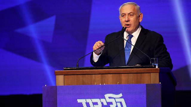 Benjamin Netanyahu addresses supporters in Tel Aviv after Tuesday's elections (Photo: Tal Shahar)