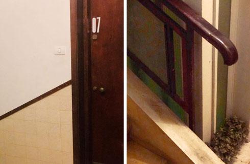 בתוך הבניין השתמרו פרטים מקוריים יפים, כמו מעקה העץ (בתמונה מימין) ודלתות הכניסה (צילום: Ma Deux Studio)