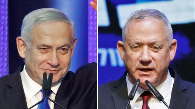 Prime Minister Benjamin Netanyahu (left) and Blue and White leader Benny Gantz (Photo: AFP)