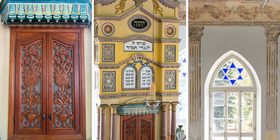פרטים בבית הכנסת המחודש. ארון הקודש המרשים מגיע לגובה של 6 מטרים (צילום: דור נבו)