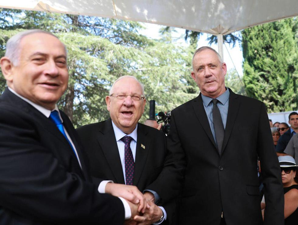 Benjamin Netanyahu (Left) President Reuven Rivlin and Blue and White leader Benny Gantz at the memorial service for former president Shimon Peres (Photo: Ohad Zwigenberg)