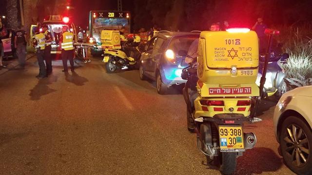 זירת התאונה בקריית אתא (צילום: תיעוד מבצעי מד