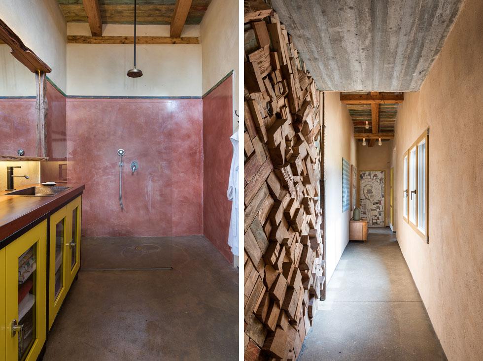 את דלתות החדרים הישנות, שהוצאו מהאשפה, כיסתה אשכנזי בקולאז'ים שיצרה (בתמונה מימין). קירות חדר הרחצה (משמאל) כוסו בטיח טדלקט (צילום: עמית גושר)