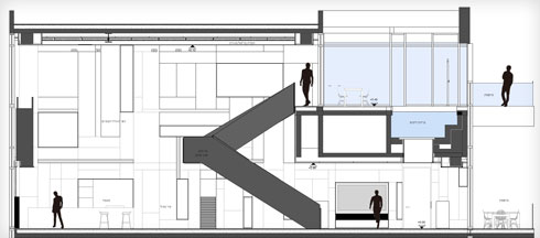 חתך המרחב הציבורי, וגרם המדרגות העולה לבריכה שעל הגג (תוכנית: תכנון - נוימן חיינר אדריכלים, תמי יניב אדריכלות)