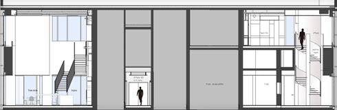 חתך המראה את שני חלקי הפנטהאוז, עם גרמי המדרגות השונים בכל חלק (תוכנית: תכנון - נוימן חיינר אדריכלים, תמי יניב אדריכלות)