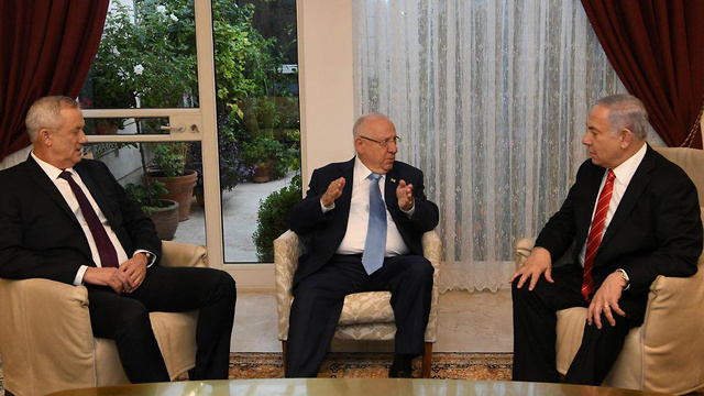 L-R: Benny Gantz, Reuven Rivlin and Benjamin Netanyahu meeting at the president's official residence in Jerusalem on Wednesday (Photo: GPO)