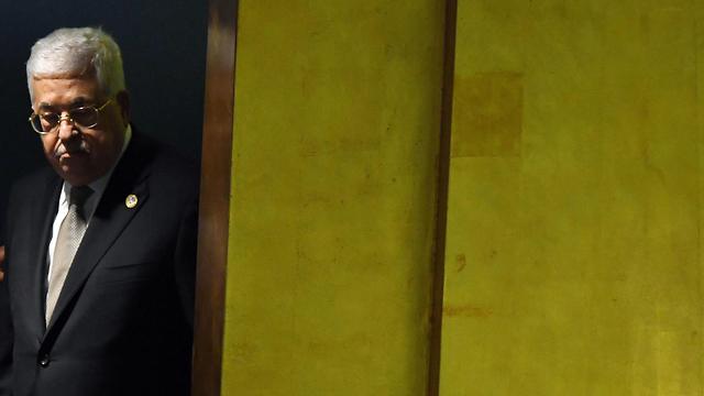 מחמוד עבאס, אבו מאזן ראש הרשות הפלסטינית נואם במליאת עצרת האו״ם (צילום: AFP)