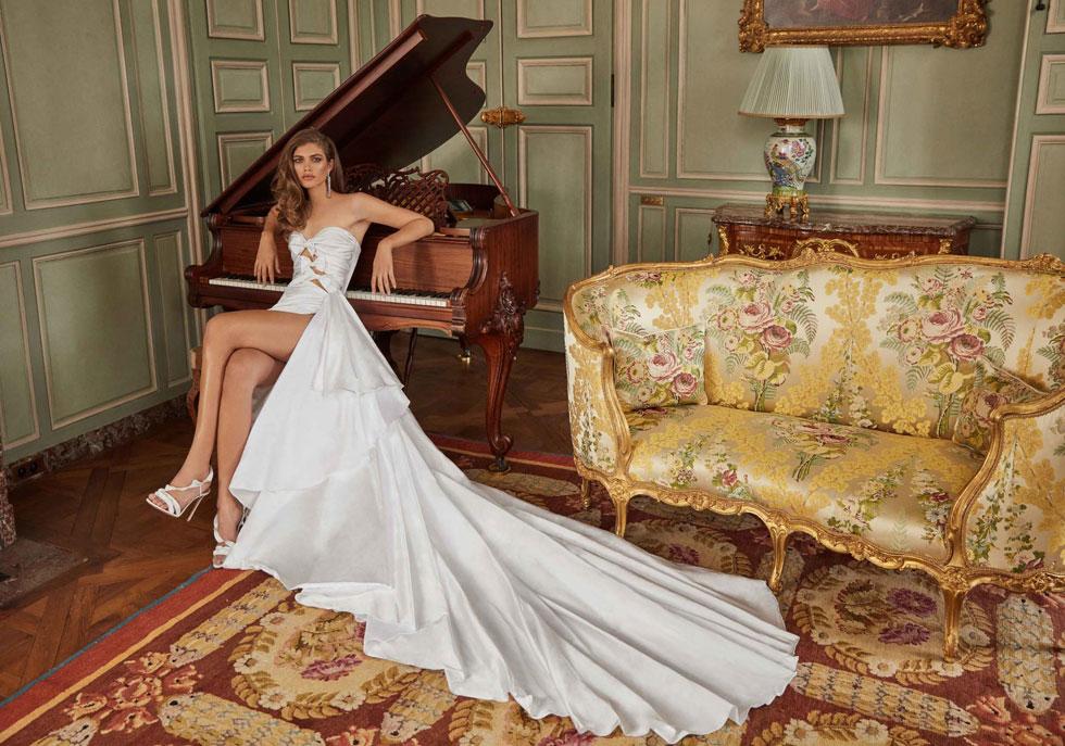 """""""אני חולמת על חתונה ורוצה להקים משפחה משל עצמי"""". ולנטינה סמפיו בקמפיין שמלות הכלה של גליה להב לאביב-קיץ 2020 (צילום: גרג סוולס)"""
