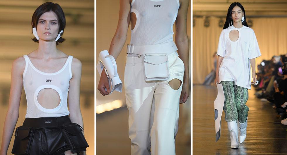 נראה כאילו משפחת עכברים ביקרה בסטודיו של המותג Off/White כדי ליצור את החורים העגולים בבגדים של המעצב וירג'יל אבלו, שנעדר מתצוגת האופנה בשל הוראה מרופאיו לנוח. כך או כך, לנו הזכירו שפה העיצובית והחיתוכים הא-סימטריים את פריטיו של הלמוט לאנג משנות ה-90 (צילום: Pascal Le Segretain/GettyimagesIL)