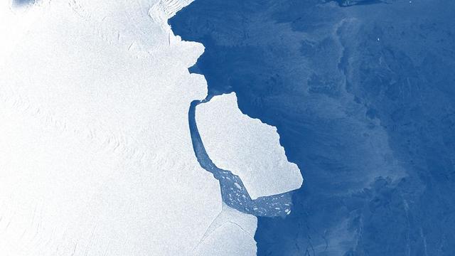 הקרחון בשבוע שעבר (צילום: Sentinel-1 satellite)