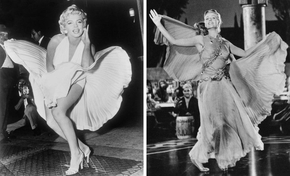 """אייקוניות אופנה. מימין: ריטה הייוורת' בסרט סלומה. 1953. משמאל: מרלין מונרו בסרט """"חטא על סף ביתך"""". תמונה אייקונית. 1954  (צילום: Keystone Features/GettyimagesIL, AP)"""