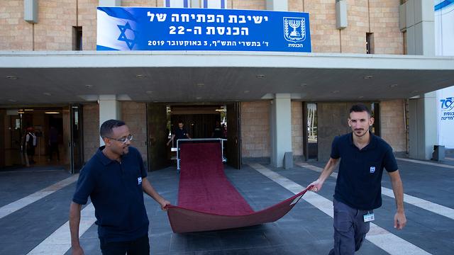 הכנות לקראת השבעה הכנסת ה- 22 (צילום: עמית שאבי)