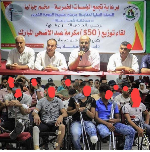 A Hamas appreciation ceremony, and those injured in the riots