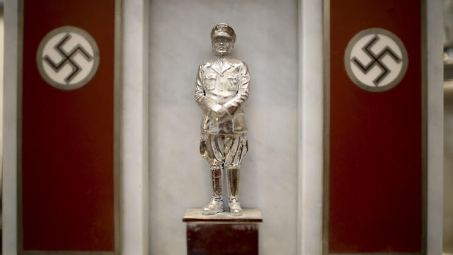 A statue of German Nazi leader Adolf Hitler discovered by police in 2017 is displayed during a press conference at the Holocaust museum in Buenos Aires