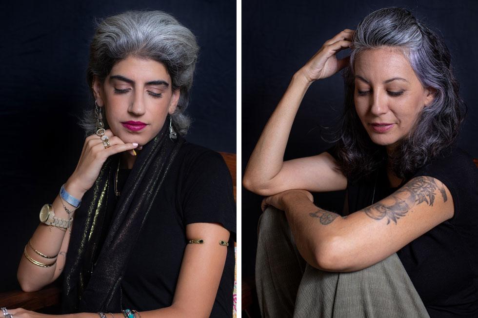 """מתוך """"לבחור בלבן"""", פרויקט הצילום של נועה אבהר. מימין: סנדרה סויסה, בת־חן בל ברוכי  (צילום: נועה אבהר)"""